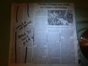 """McClatchy story from News & Observer, Mar 31, 2014, Page A6, headlined """"Charges of fraud cast doubt on Crimea referendum."""""""