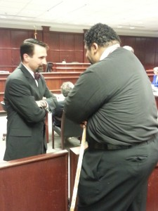 Special Counsel to the NCBOE has a chat with NAACP leader, Rev William Barber. The NAACP petitioned the court to support the states position on moving the trials start date from early July to early August, 2015.
