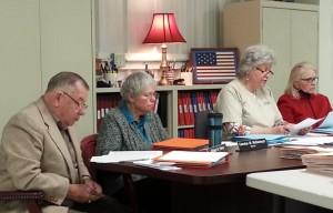 Moore County BOE members (L-R), Bill Parke, Carolyn McDermott, Susan Adams at the Feb 10 hearing.